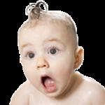 Baby looking surprised
