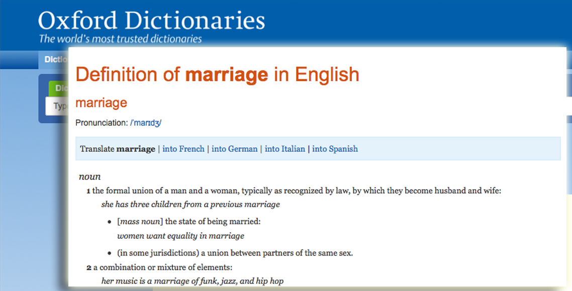 Oxford online dictionary definition of marriage on 29 July 2013