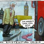 Steve Bell on Corbyn Cameron irony